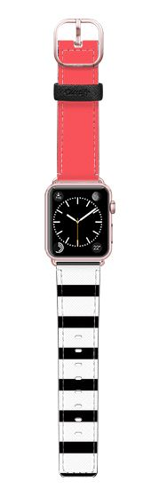 Casetify Apple Watch Band (38mm) Saffiano Leather Watch Band - Infra Red Black and White Stripes Design by Avawilde.com