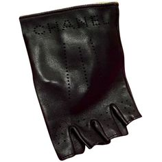 Pre-owned Chanel Size 7.5 Black Lambskin Leather Fingerless Gloves ($449) ❤ liked on Polyvore featuring accessories, gloves, blac, lambskin leather gloves, lambskin gloves, chanel gloves, black fingerless gloves and fingerless gloves