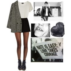 Untitled #88 by violent-eyes on Polyvore featuring A.P.C., Wolford, Comptoir Des Cotonniers, Dr. Martens, Gypsy and grunge
