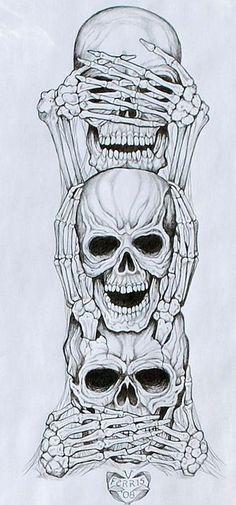 No Evil Art Print by Vernon Farris - No Evil Art Print by Vernon Farris . - No Evil Art Print by Vernon Farris – No Evil Art Print by Vernon Farris – - Kunst Tattoos, Tattoo Drawings, Skull Drawings, Weird Drawings, Totenkopf Tattoos, Evil Art, Marquesan Tattoos, Full Sleeve Tattoos, Leg Sleeve Tattoo