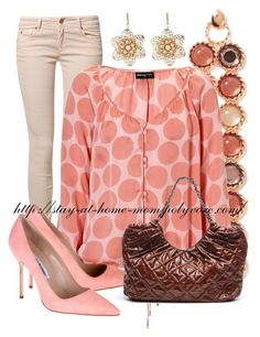 """""""Pink Polka Dots"""" by stay-at-home-mom ❤ liked on Polyvore featuring CIMARRON, Banana Republic, Expresso, Manolo Blahnik and Amrita Singh"""