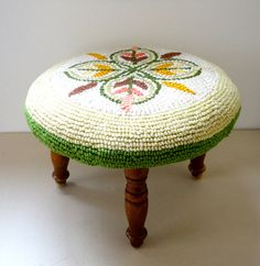 Foot Stool Hooked Rug Floral Pattern in Beautiful Fall by KimBuilt, $45.00