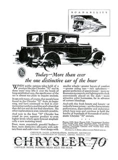 "Chrysler ""70"" Ad (February, 1927): Roadability - Illustrated by Fred Cole"