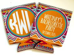 Bacelorette party bride tribe koozies, tribal coozies, boho chic
