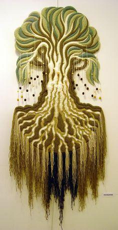 Yuri N. Hanging Tapestry, Tapestry Weaving, Loom Weaving, Hanging Art, Art Fibres Textiles, Textile Fiber Art, Textile Artists, Sewing Art, Felt Fabric