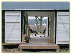 Danish Møn summer houses..I like the idea of a 'container' that opens up into a house when used.