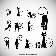 Illustration about Black cat silhouette collections, cartoon cat black and white, Halloween. Illustration of painting, elegance, animal - 61859507 Gatos Vector, Black Cat Silhouette, Silhouette Images, Photos Hd, Stock Photos, Cat Crafts, Cat Tattoo, Kitty Tattoos, Cat Drawing
