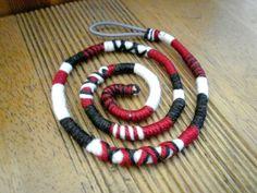 Atebas noir anthracite rouge et blanche - 49cm Tresse indienne taille moyenne : Accessoires coiffure par stonanka