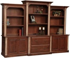 Enjoy all the storage you need for your office with the stunning and grand Jefferson Office Storage Wall Unit with Optional Three-Piece Hutch from DutchCrafters Amish Furniture, Office Furniture, Wood Furniture, Furniture Storage, Dovetail Furniture, Furniture Hardware, Cheap Furniture, Furniture Ideas, Furniture Design