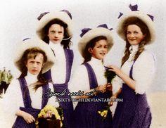 Grand Duchesses Anatasia, Tatiana, Maria and Olga Nikolaevna Romanova of Russia.