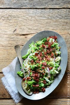 Crunchy Broccoli Salad with a creamy bacon dressing and crunchy sunflower seeds - make this Phase 3 side dish with safflower mayo (instead of Greek yogurt) and nitrate-free turkey bacon.