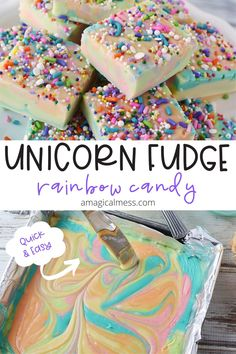 Looking for rainbow candy to make? This quick and easy unicorn fudge is just what you need for your next magical party. Rainbow Desserts, Rainbow Treats, Rainbow Candy, Rainbow Food, Rainbow Baking, Fun Baking Recipes, Fudge Recipes, Candy Recipes, Sweet Recipes