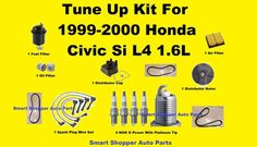 Tune Up Kit For 1999-2000 Honda Civic Serpentine Belts Spark Plug Wire Set Filte #AftermarketProducts