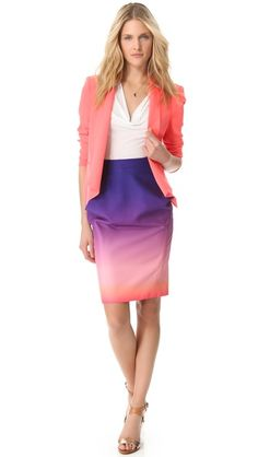 This sunset skirt and asymmetrical jacket makes me wish I had somewhere to wear this ensemble