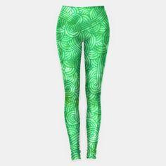 """Green zentangles"" Leggings by Savousepate on Live Heroes #leggings #leggins #pants #clothing #apparel #pattern #graphic #modern #abstract #doodles #zentangles #scrolls #spirals #arabesques #green #irish #stpatricksday #saintpatricksday"