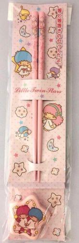 Little-Twin-Stars-Chopsticks-and-Ceramics-Rest-Set-Wood-18cm-Pink-Sanrio-Japan