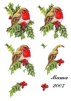 robin Christmas Sheets, Christmas Topper, 3d Christmas, Christmas Tree Cards, Christmas Animals, Christmas Images, Vintage Christmas, Christmas Cards, 3d Paper