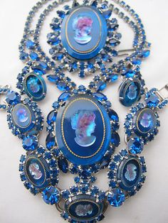 Juliana Blue Glass Rhinestone Cameo Vintage Set Necklace Earrings Bracelet Pin