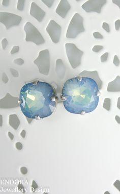 Rare Swarovski White opal starshine | 10mm cushion cut square crystal earrings | special gift | gift for friend | blue crystal earrings | something blue | blue bridesmaid earrings | www.endorajewellery.etsy.com