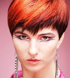 A short red straight coloured multi-tonal bob Womens haircut hairstyle by William De Ridder