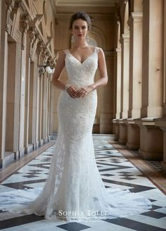 a0837aa98e1 mon cheri bridals Y21762 Zaniah - Lace V-neck wedding dress with illusion  back.