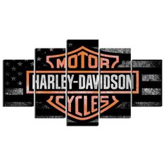 5 Panel Framed Harley Davidson Cycles Wall Art Canvas | Octo Treasure