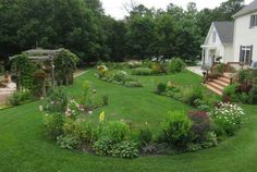 Beautiful curved planting beds in figure 8 pattern
