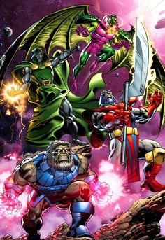 Doctor Doom, Annihilus, Terrax and Blastaar by Claudio Castellini Marvel Villains, Marvel Vs, Marvel Heroes, Marvel Universe, Comic Books Art, Comic Art, Book Art, Doctor Doom, Terra X
