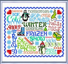 """""""Let's Be Frozen"""" cross stitch pattern by Ursula Michael - so colorful; so cute!!! #UrsulaMichael"""