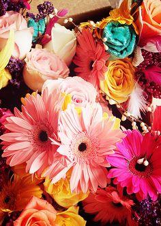 Beautiful arrangement of flowers. I love the colors too.