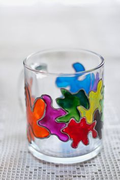 Hand painted mug with multicolor blots. by zmeyssHandMade on Etsy