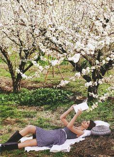 i love reading under flowering trees. (As long as i have taken my allergy pills)