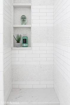 Dazzling Master shower remodel window ideas,Small walk in shower remodel ideas and Trailer shower remodel. Next Bathroom, Upstairs Bathrooms, Basement Bathroom, Bathroom Renos, Bathroom Interior, Bathroom Ideas, Penny Tile Bathrooms, Condo Bathroom, Design Bathroom