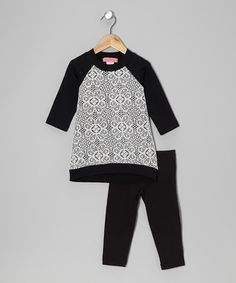 Take a look at this Black & Ivory Arabesque Hi-Low Tunic & Leggings - Toddler & Girls by Baby Nay on #zulily today!