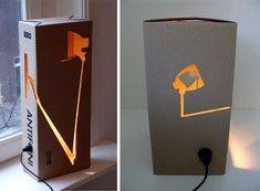 DIY Clever Cardboard Light....Looks like a knockoff coming on.....Sustainable and recyclable cardboard boxes become the basis of the light rather than a permanent, heavy and hard-to-recycle mixed wood, metal and/or glass object.
