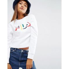 Fila Sweatshirt With Multicoloured Logo Print And Tape Detail (230 SAR) ❤ liked on Polyvore featuring tops, hoodies, sweatshirts, white, white cotton tops, crew top, white crew neck sweatshirt, white sweatshirt and crew neck top
