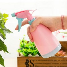 Fieans Colorful Plastic Hand Pressure Lawn and Garden Sprayer Watering Can Sprinkler Spray BottlesPink ** More info could be found at the image url.