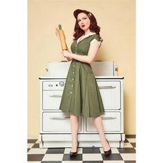 Diner Olive 1950s Style Dress