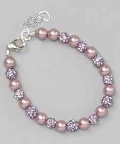 Look at this #zulilyfind! Rose Pearl & Purple Pave Bead Bracelet #zulilyfinds