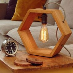 Wooden handmade Vintshop hexagon design table lamp with Edison bulb-light oak-desk lamp-wooden lamp-retro lamp More