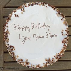 Create Walnuts Decorated Cream Birthday Cake With Name Photo On Best Online Generator Editing Options And Send Happy Wishes