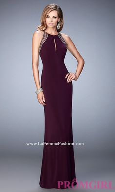 High Neck La Femme Dress with Beaded Illusion Back Style: LF-22264