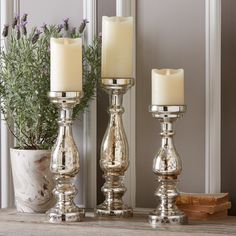 Mercury Glass Pillars (Set of 3)