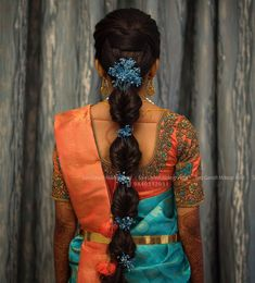 Image may contain: one or more people and people standing Bridal Hairstyles With Braids, Saree Hairstyles, My Hairstyle, Indian Hairstyles, Bride Hairstyles, Bridal Hairstyle Indian Wedding, Bridal Hair Buns, Bridal Hairdo, Braided Hairstyles For Wedding