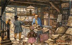 The Book Shop ~ Counted Cross Stitch Chart ~ People ~ Anton Pieck Anton Pieck, Dutch Painters, Dutch Artists, 3d Prints, Illustrators, Illustration Art, Image, Bookstores, Netherlands