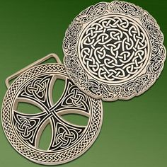 """Celtic Belt Buckle.    Richly detailed designs set these metal buckles apart from the ordinary. Embossed with Celtic motifs. 3"""" dia. $34.99"""