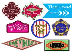 Harry Potter-Inspired Candy Labels and Tents! Movie Marathon Decorations, Instant Digital Download  There are so many great HP-inspired box templates available, but I wanted labels and tent cards to use for my parties, not boxes. Easier than creating individual boxes, but they still work to give your party that HP ambience.  This is an instant digital download of the following signs: LABELS AND TENT CARDS: - Pepper Imps - Honeydukes Candy Floss - Bertie Botts Every Flavour Beans - Ton…