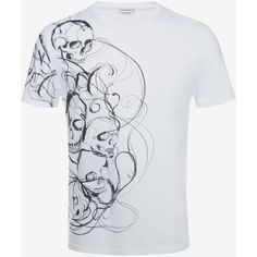 Alexander McQueen Organic Jersey Skull Printed T-shirt (385 CAD) ❤ liked on Polyvore featuring men's fashion, men's clothing, men's shirts, men's t-shirts, white, mens white shirts, mens cotton shirts, mens leopard print t shirt, mens white short sleeve shirt and mens white cotton shirts