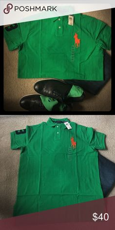 💯 Authentic Polo Ralph Lauren short sleeve Polo short sleeve with a large orange logo and #3 on the right sleeve. Custom fit Polo by Ralph Lauren Shirts Polos