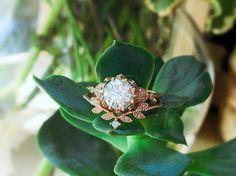 Forever One Moissanite Floral Engagement Ring Vintage